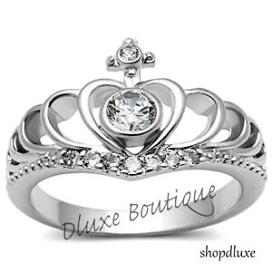 Sterling Silver Femmes Champagne Royalty Cz COURONNE ROYALE Fashion Ring Taille 4-10