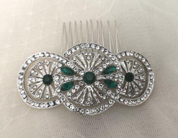 """""""imogen"""" Art Deco Stile Vintage Verde Smeraldo Cristallo Nuziale Capelli Pettine Anni 1920"""