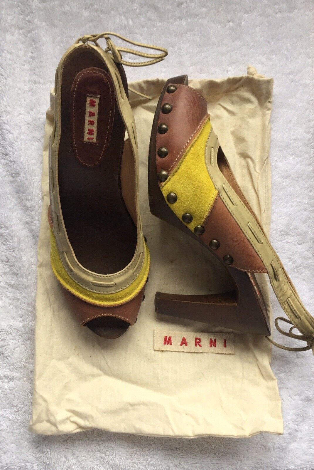 Marni Wood, Leather And Suede Heeled Heeled Heeled schuhe 90fc66