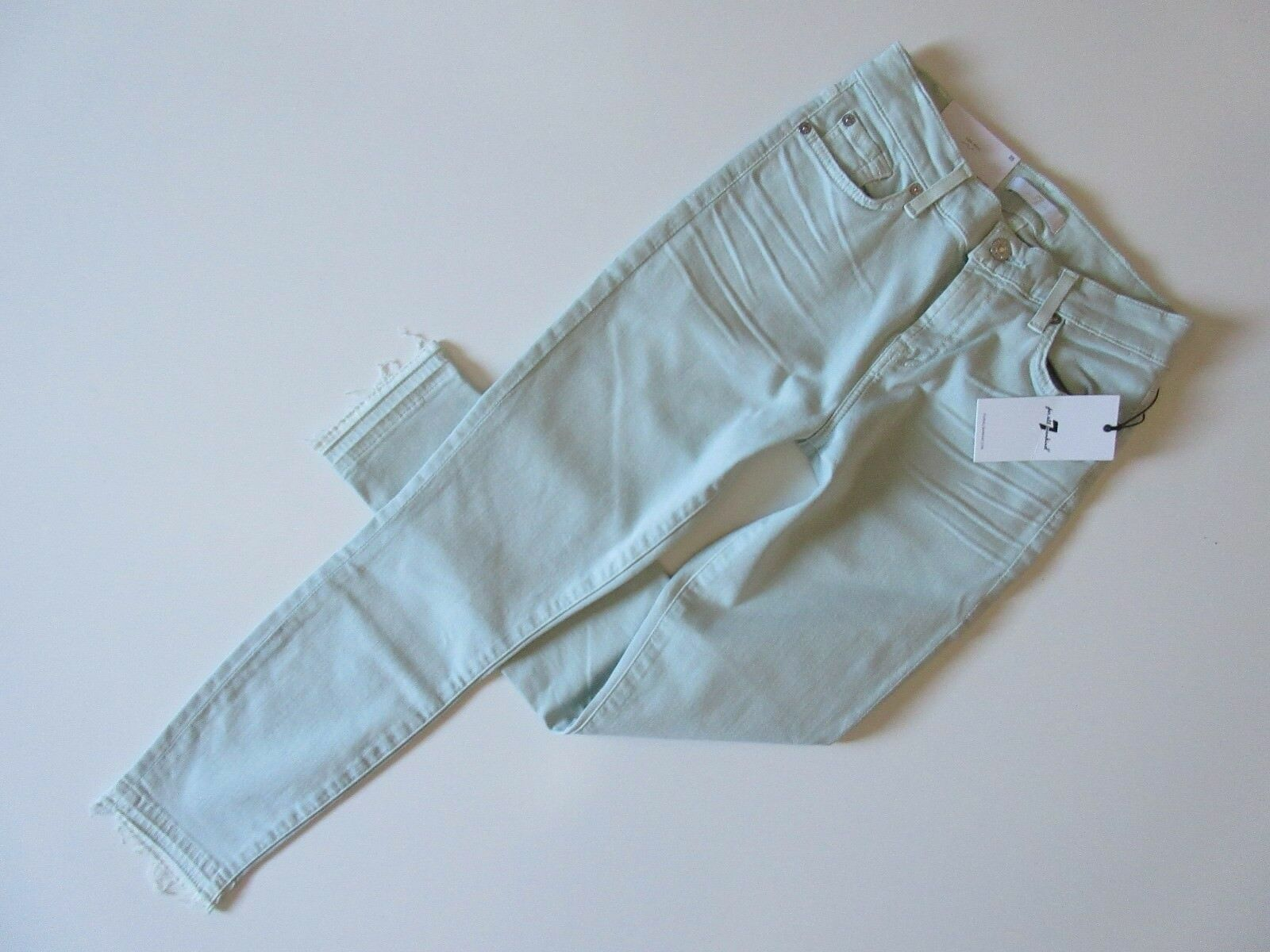 NWT 7 For All Mankind Ankle Skinny in Mint Green Released Hem Stretch Jeans 25