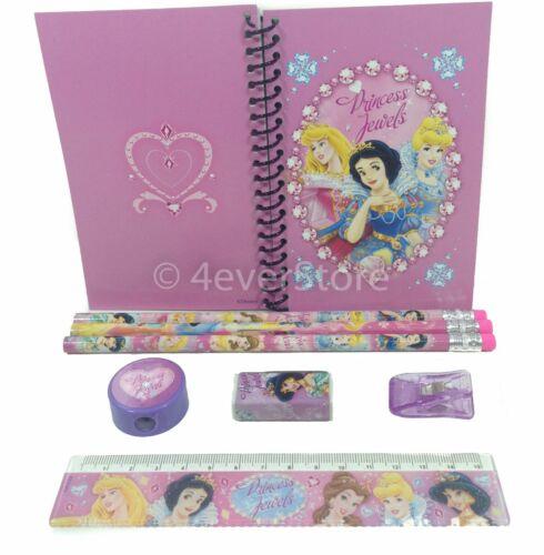 8ct Notebook Teen Girls Stationary Set Disney Princess Pencils Ruler Eraser