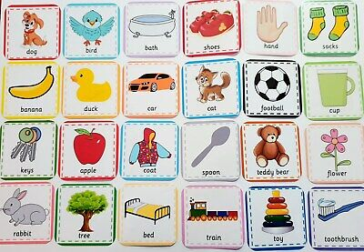 FIRST WORDS FLASH CARDS- Picture & Word - Toddler - Baby ...