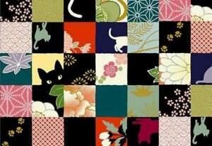 Quilt Gate Hyakka Ryoran Neko Cat Fabric HR3110-13A w/Gold Metallic BTY