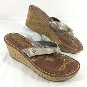 4fafe1756e16 Women s Sam Edelman Platform Wedge Thong Flip Flop Sandals Silver ...