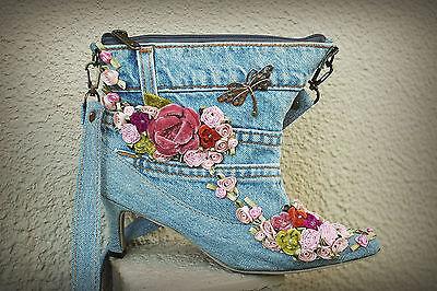 HAND & HEART Denim Half Boot Shoe Shoulder Bag Dragonfly Flowers Boho Hippie