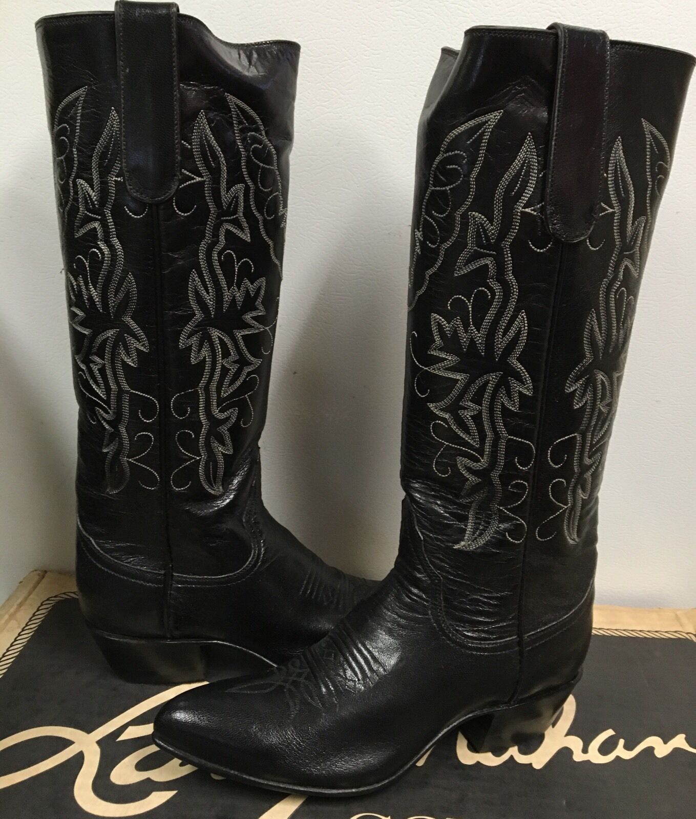 Larry Mahan Mahan Mahan Women's Western Riding Boots  Black  Leather with  6152  size US 4 6740cb