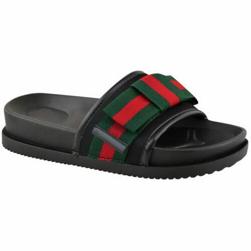 Womens Ladies Comfy Slip On Summer Mules Sandals Striped Bow Sliders Shoes Size