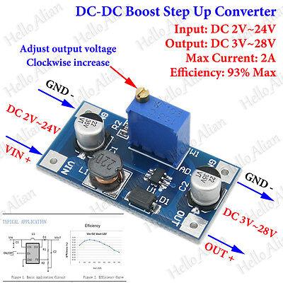 DC-DC Boost Step-Up 2V-24V 5V to 3.3V-28V 12V 2A Converter Power Supply Module