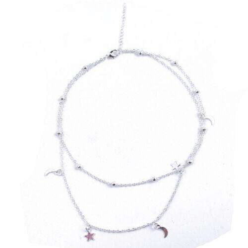 Señoras Minimalista De Doble Capa Delicado Lasso Moon Star Collar Elegante Joyería Z