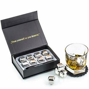 Exklusives Edelstahl Whisky Eiswürfel Geschenkset Hohe Kühltechnologie - 8 stk.