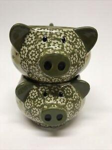Set Of 2 Temptations 18 Oz Old World Green Figural Pig Soup Bowls