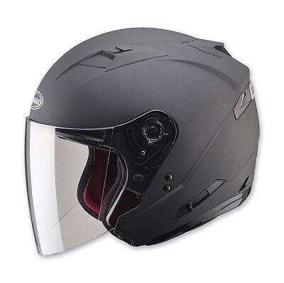 2-IN-1 FLAT BLACK CRUISER MOTORCYCLE HELMET RETRACTABLE VISOR FULL SHIELD MEDIUM