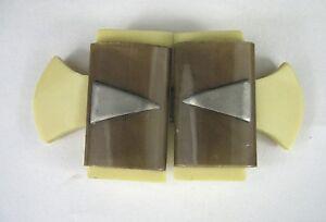 Art-Deco-Belt-Buckle-Celluloid-Vintage-1930-Brown-Yellow-Triangle-Set-Dress-Clip
