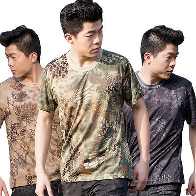 MENS MILITARY CAMOUFLAGE T SHIRT CAMO ARMY COMBAT NEW M-3XL