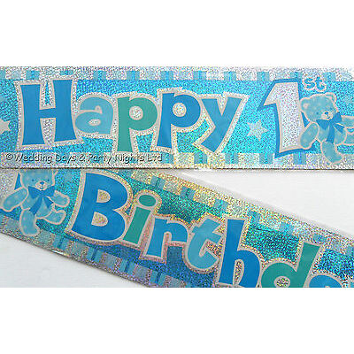 12ft Sparkly Foil Pink or Blue Happy 1st Birthday Teddy Banner Party Decoration