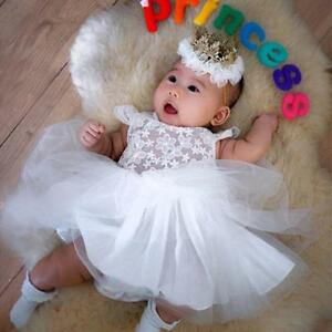 Newborn Baby Girl Princess Dress Tulle Wedding Party Gown ...