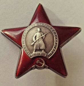 Russian-Order-of-the-Red-Star-Medal-1953-Serial-3076311-Sterling-Silver-GENUINE