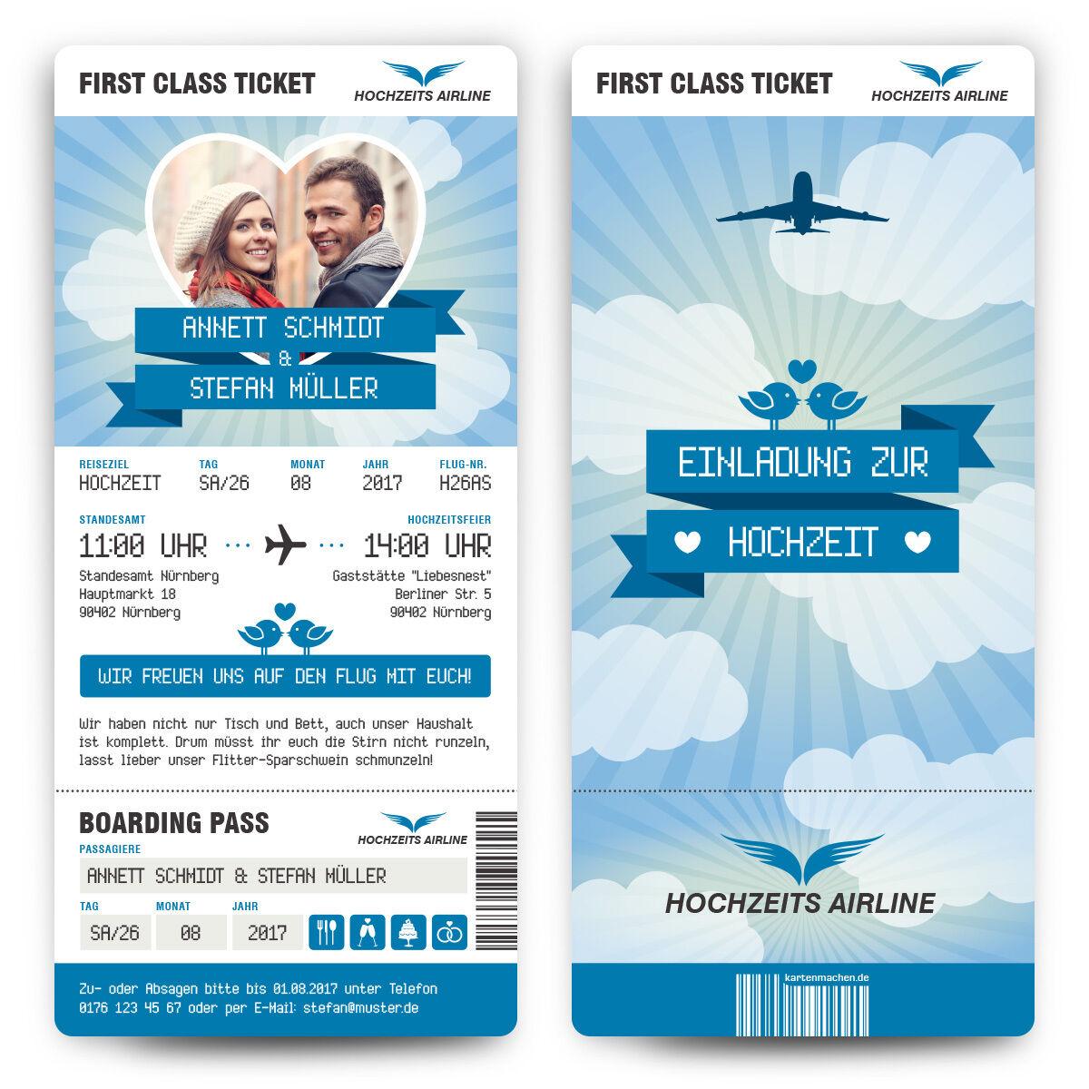 Hochzeit Einladungen - First Class Flugticket Blau - Hochzeitskarten Foto Abriss