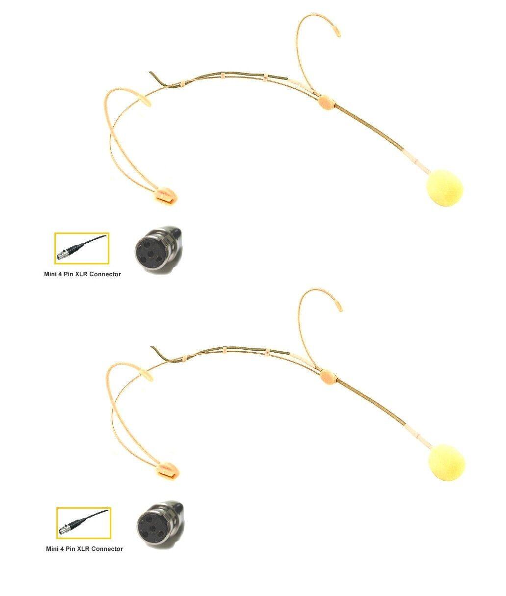 Set of 2 Ultra Lightweight Beige Headset Mic for Shure Fitness Audio V Wireless
