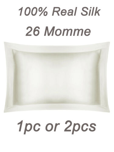 100% Pure Mulberry Silk 26 Momme Charmeuse Silk Hypoallergenic Pillowcase White