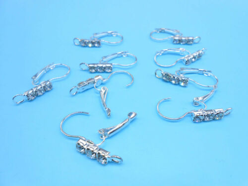 50-200PCS Lever Back Earring Finding Silver Loo French Ear Clip Earwire Crystal