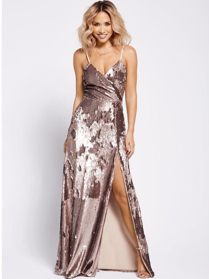 BNWT MYLEENE KLASS Gold FULLY SEQUINNED STRAPPY MAXI DRESS Größe UK 12