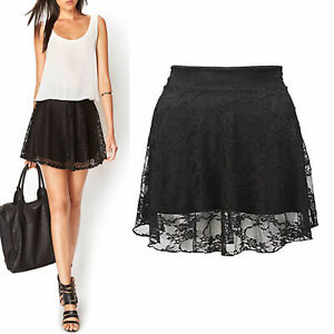 Image is loading New-Ladies-Womens-Black-Floral-Lace-Overlay-Flared- a601faee6