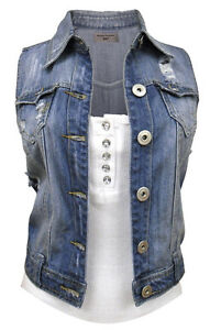 41c6ebf710 Details about NEW Womens Denim Waistcoat Ladies Jean Gilet Jacket Size 8 10  12 14 16 Mid Blue