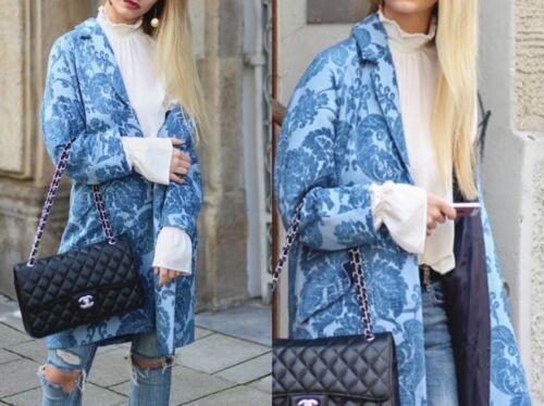 Blau S Zara Coat Woman M Jacquard Floral Mantel Xs Blumen Blue qqt6fnA