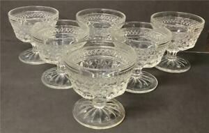 Set of 6 Anchor Hocking Wexford Sundae/Dessert Glasses/Cups Footed Clear
