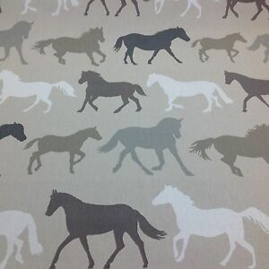 Clarke-and-Clarke-STAMPEDE-Horses-Cotton-Fabric-for-Curtain-Upholstery-LINEN