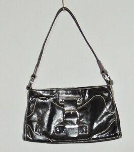 Image Is Loading Franco Sarto Small Black Leather Purse W Silver
