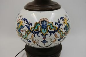 ANTIQUE-ITALIAN-MAJOLICA-HAND-PAINTED-LAMP