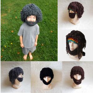 8c5e5042594 Mens Boy Funny Wig Beard Hats Mad Caveman Winter Wool Knit Warm Hat ...