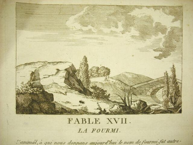 Fábula la fourmi c 1800 the ant story grabado print dans le sabor la fuente de