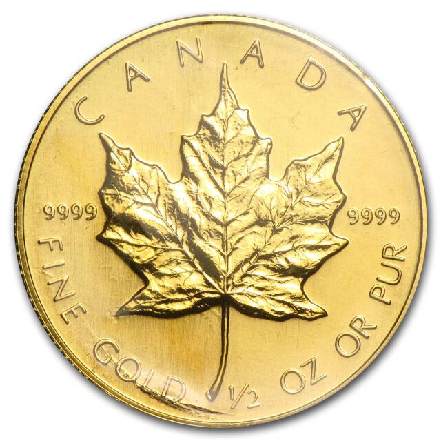 1986 Canada 1/2 oz Gold Maple Leaf BU - SKU #82843
