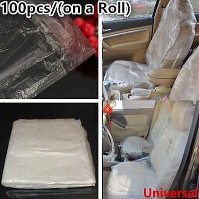 100pcs Disposable Plastic Car Seat Covers Vehlcle Protectors Mechanic Valet Roll