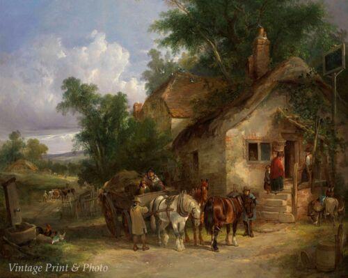 Halt at the Inn by William Shayer Art Old England Tavern Travel  8x10 Print 0538