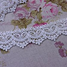 "Antique Style  Embroidered Cotton Crochet Lace Trim 1.6""(4cm) Off White Wide 1Yd"