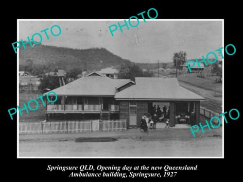 OLD 8x6 HISTORIC PHOTO OF SPRINGSURE QUEENSLAND, THE AMBULANCE STATION 1927