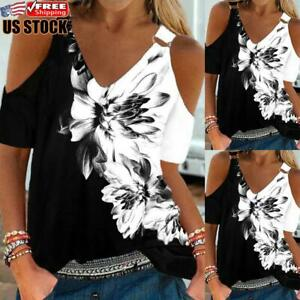 Womens Floral Cold Shoulder T-shirt Blouse Ladies Short Sleeve Casual Tunic Tops