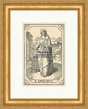 Holzstich Sankt A4 1058 Der heilige Rochus von Montpellier Apotheker Kranken St