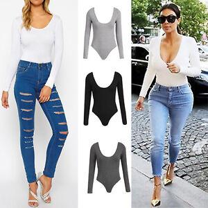 Womens-Celebrity-Plain-Stretch-Long-Sleeve-Bodysuit-Stretch-Jersey-Leotard-UK