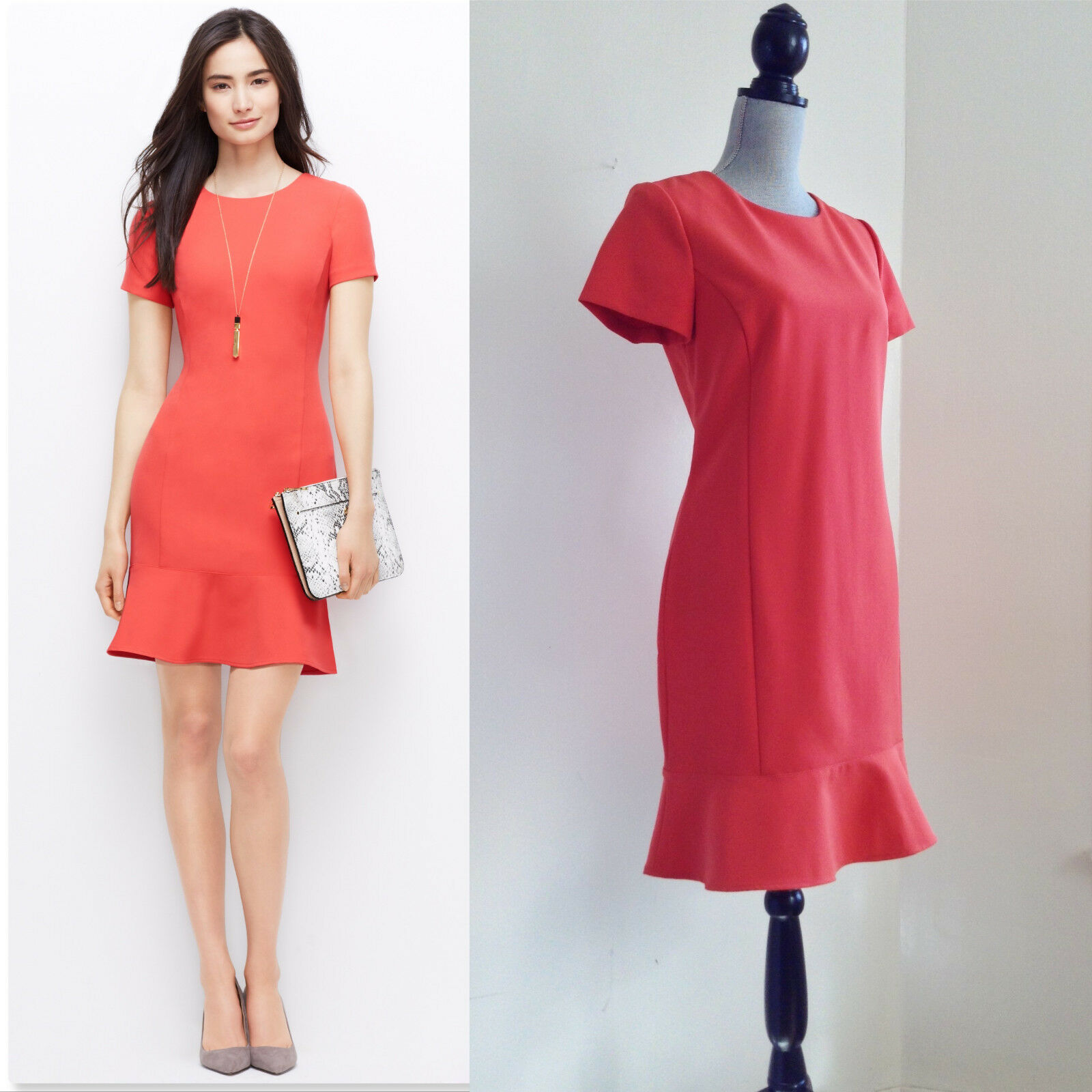NWT Ann Taylor Flouce Hem Dress Coral Pink Sheath Pencil Coral Pink Sz 10 M