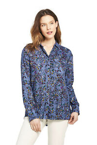 Lands-039-End-NWT-Women-039-s-Petite-Size-Brush-Rayon-Collared-Shirt-Blue-Floral-MSR-60
