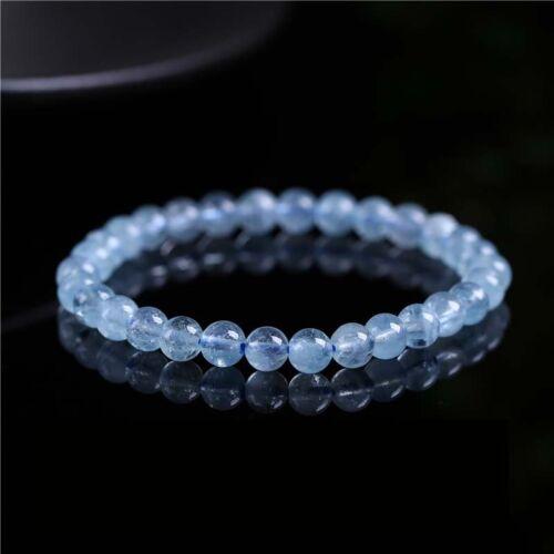 Natural Blue Aquamarine Bracelet Gemstone Clear Crystal 6-7mm AAA
