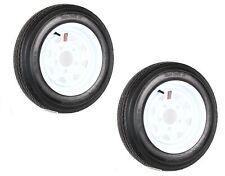 Two Trailer Tires On Rims 4.80-12 480-12 4.80 X 12 LRB 5Lug Wheel White Spoke
