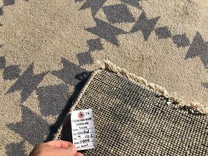 9x12 MUTED WOOL RUG HAND-KNOTTED handmade hand-woven mute modern big blue carpet
