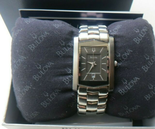 BULOVA  Men's Watch, Stainless Steel Band, Black Face. in-box (needs Battery)