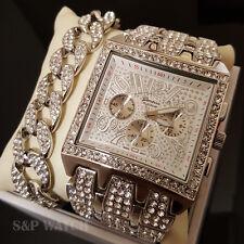 Men HipHop Iced Out Bling White Gold Vintage WATCH & Full iced BRACELET Gift Set
